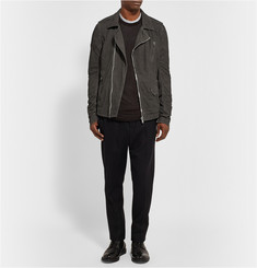 Rick Owens Blistered-Leather Biker Jacket