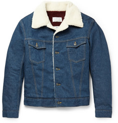 Maison Margiela Faux Shearling-Trimmed Denim Jacket
