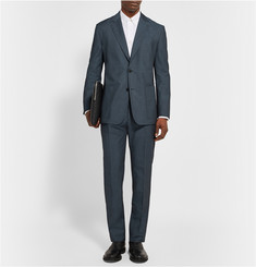 Maison Margiela Blue Slim-Fit Wool and Cotton-Blend Twill Trousers