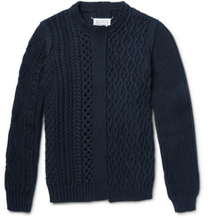 Maison Margiela Patchwork Chunky-Knit Cotton Crew Neck Sweater