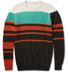 Maison Margiela Striped Wool-Blend Crew Neck Sweater