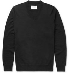 Maison Margiela Elbow Patch Fine-Knit Cotton and Wool-Blend Sweater