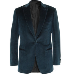 Brioni Navy Cotton and Cashmere-Blend Velvet Blazer