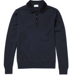 Brioni Slim-Fit Suede-Trimmed Wool Polo Shirt