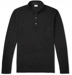 Brioni Long-Sleeved Cotton-Pique Polo Shirt