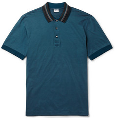 Brioni Striped-Collar Cotton-Piqué Polo Shirt