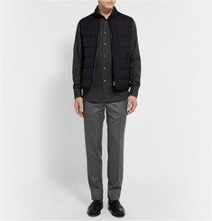 Brioni Knitted Collar Micro-Check Cotton Shirt