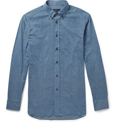 Brioni Button-Down Collar Cotton-Chambray Shirt