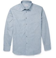 Brioni Puppytooth Cotton-Flannel Shirt