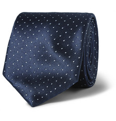 Brioni Dot-Embroidered Silk Tie