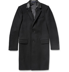 Lanvin Leather-Trimmed Wool-Twill Overcoat