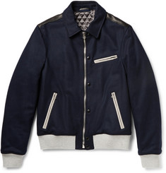 Lanvin Leather-Trimmed Wool-Blend Jacket