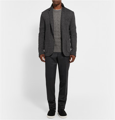 Lanvin Slim-Fit Contrast-Waist Wool-Flannel Trousers