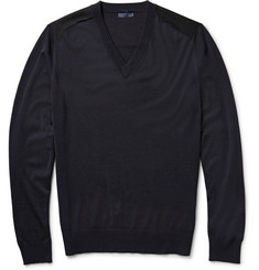 Lanvin Felt-Trimmed Merino Wool Sweater