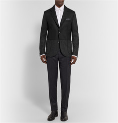 Lanvin Black Panelled Wool-Blend Felt Blazer