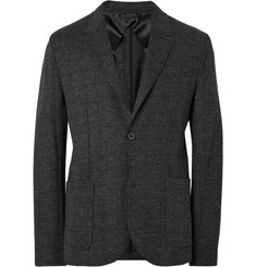 Lanvin Charcoal Unstructured Checked Wool Blazer