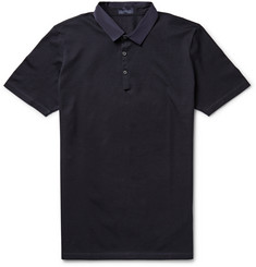 Lanvin Grosgrain-Trimmed Cotton-Piqué Polo Shirt