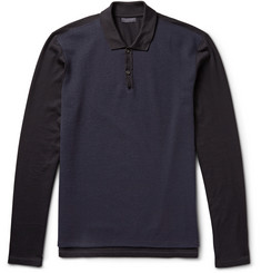 Lanvin Two-Tone Cotton-Piqué And Wool-Blend Jersey Polo Shirt