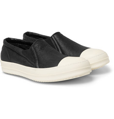 Rick Owens Shearling-Lined Textured-Leather Sneakers