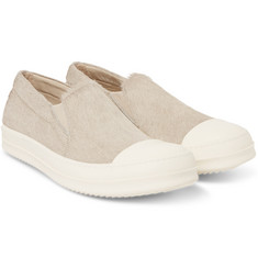 Rick Owens Cap-Toe Calf Hair Sneakers