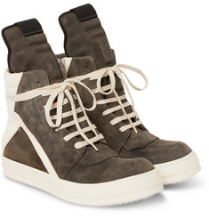 Rick Owens - Panelled Suede High-Top Sneakers