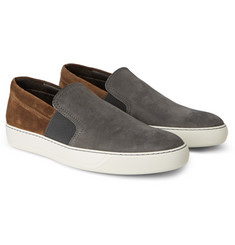 Lanvin Nubuck and Suede Slip-On Sneakers