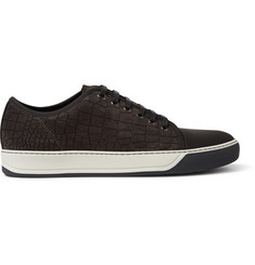 Lanvin Croc-Embossed Leather Sneakers
