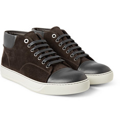 Lanvin Two-Tone Suede and Leather Sneakers