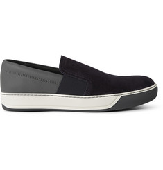 Lanvin Suede and Textured-Leather Slip-On Sneakers