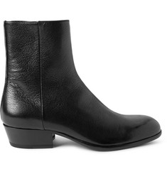 Maison Margiela Cuban-Heel Grained-Leather Boots