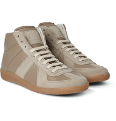 Maison Margiela Replica Panelled Leather and Suede High-Top Sneakers