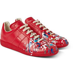Maison Margiela Paint Splash Faux Leather Sneakers