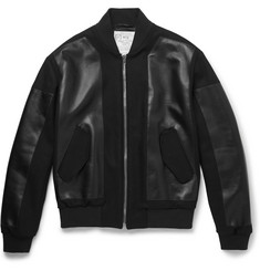 McQ Alexander McQueen Slim-Fit Leather-Panelled Wool-Blend Jacket