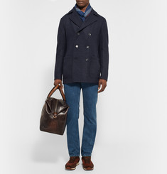 Loro Piana Suede-Trimmed Double-Faced Woven Cashmere Peacoat