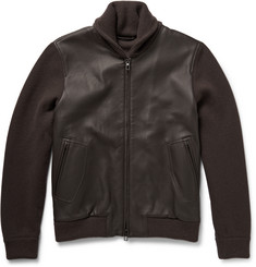Loro Piana Shawl-Collar Leather and Baby Cashmere Bomber Jacket