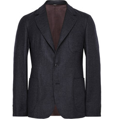 Loro Piana Navy Washington Unstructured Checked Cashmere Blazer