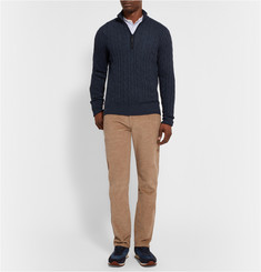 Loro Piana Suede-Trimmed Cable-Knit Cashmere Sweater