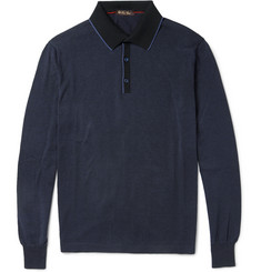 Loro Piana Knitted Cotton and Cashmere-Blend Polo Shirt