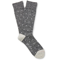Mr. Gray Mélange Intarsia-Knit Cotton-Blend Socks