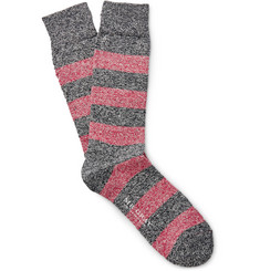 Mr. Gray Mélange Striped Cotton-Blend Socks
