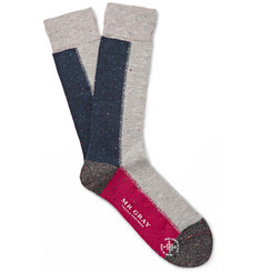 Mr. Gray Panelled Knitted Socks