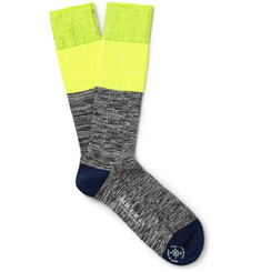 Mr. Gray Panelled Cotton-Blend Socks