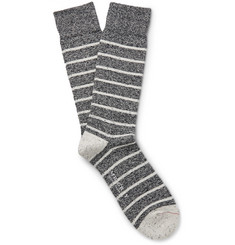 Mr. Gray Mélange Breton Stripe Cotton-Blend Socks