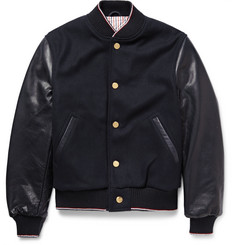 Thom Browne Cashmere-Trimmed Melton Wool and Leather Bomber Jacket