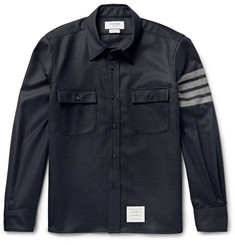 Thom Browne Striped Wool-Flannel Shirt Jacket