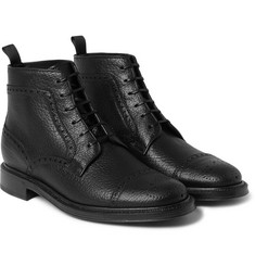 Brioni Full-Grain Leather Brogue Boots