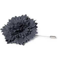 Lanvin Leather-Trimmed Flower Lapel Pin