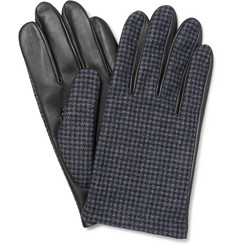 Lanvin Checked Wool and Leather Gloves