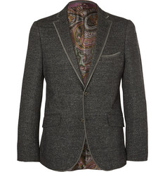 Etro Grey Slim-Fit Knitted Wool, Silk and Cotton-Blend Blazer