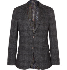 Etro Grey Slim-Fit Checked Alpaca, Silk, Cotton and Wool-Blend Blazer